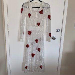 For Love & Lemons La Zosia Dress Small Lace Hearts